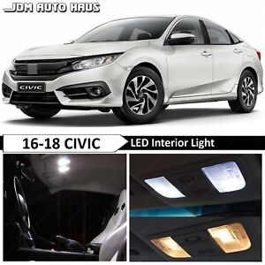 10 pcs White Interior LED Lights Bulbs Replacement Fits 2016-2018 Honda Civic