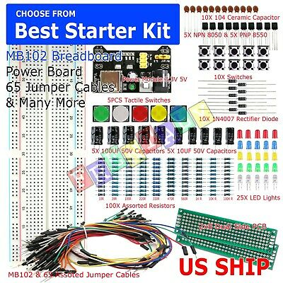 830 Point Solderless Breadboard 65 Pcs Jumper Cable Mb-102 Power Supply Module