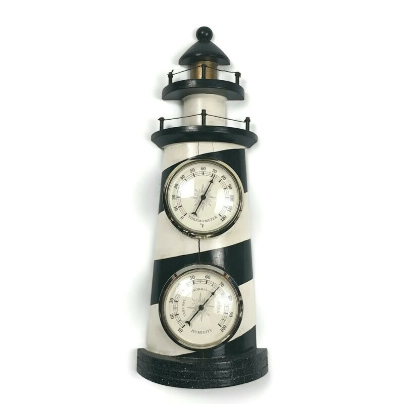 Vintage Lighthouse Weather Station Thermometer, Humidity Nautical