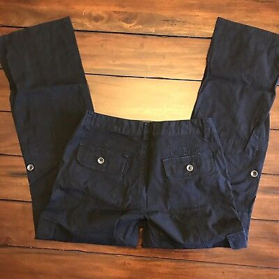 HARLEY DAVIDSON Size 8 Black Women's Motorcycle Canvas Jeans Pants Cargo 2008