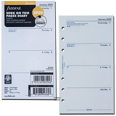 2020 Filofax Personal Size Refill 20-68419 Week On Two Pages 95mm X 171mm