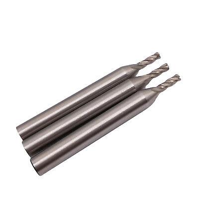 Us Stock 3pcs 2.5mm Four 4 Flute Hss Aluminium End Mill Cutter Cnc Bit