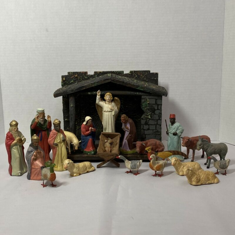 Vintage Early German Nativity w/21 Figures & Creche, Finger Molded Papier Mache