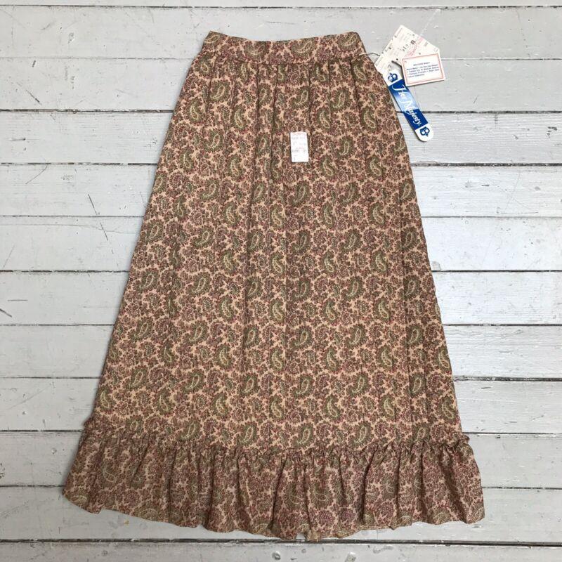 VTG 1970s Kids Girls Her Majesty Quilted Skirt Ruffle NWT Paisley Prairie Boho 7