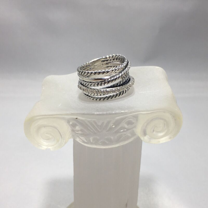 David Yurman Sterling Silver 925 Crossover Wide Ring With Pave Diamonds Size 5