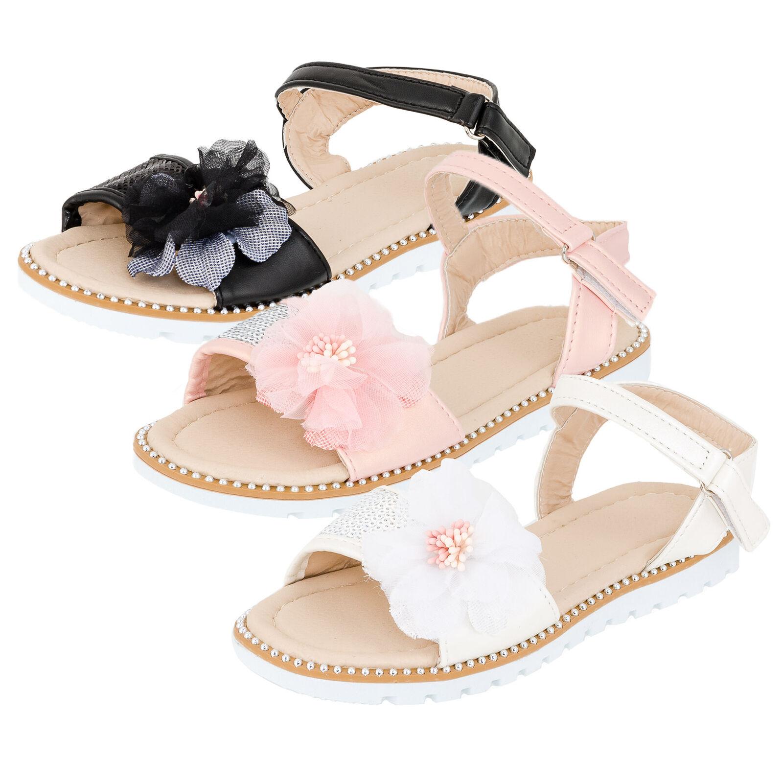 Mädchen Sandalen Sandaletten Kinder Schuhe mit Klettverschluss Hochzeit Freizeit