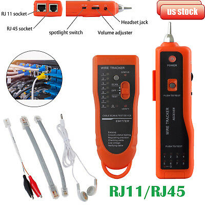 Rj4511 Telephone Network Wire Cable Tracker Transmitter Receiver Tester Toner