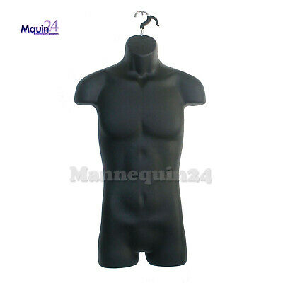 Male Mannequin Torso Dress Form Black With Hook For Hanging