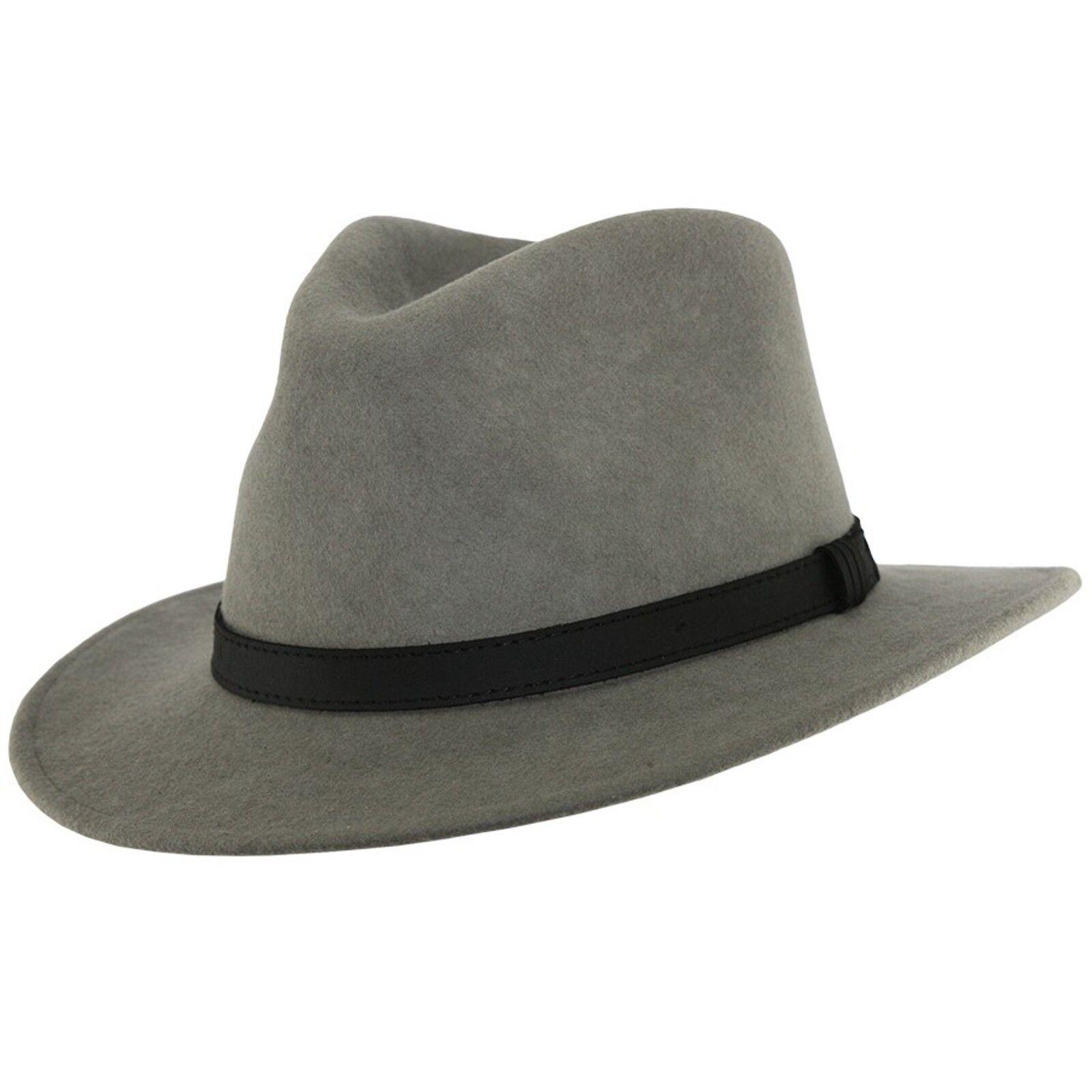 Fedora sombrero con banda de cuero tipo fieltro de las lanas de 100% de  gris aplastante de caballeros. 8fba87d3cba