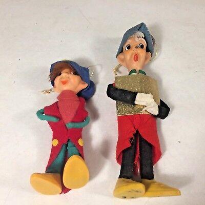 2 Vtg MCM Christmas Pixie Elf Boy w Felt Hat Clothes Ornament Japan 50's - 50s Boy Clothes