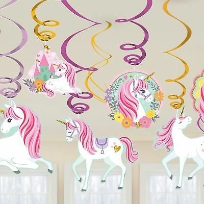Pink Unicorn Swirl Hanging Ceiling Decorations Glitter Girls Birthday Pony Party - Hanging Ceiling Decorations
