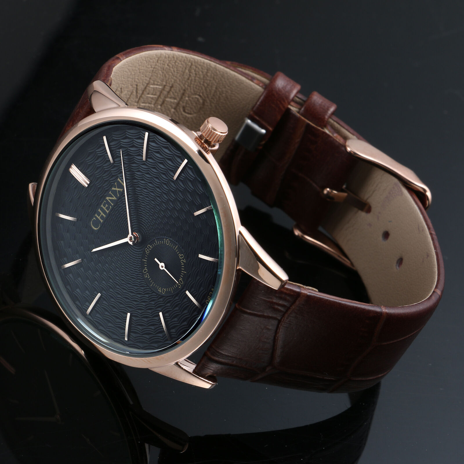 $15.27 - Luxury Quartz Sport Military Stainless Steel Dial Leather Band Wrist Watch Men
