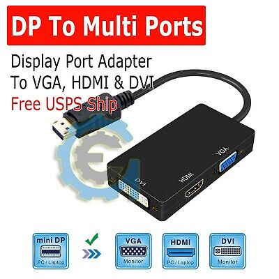 3 In 1 Displayport DP Male To HDMI/DVI/VGA Female Adapter Converter Cable