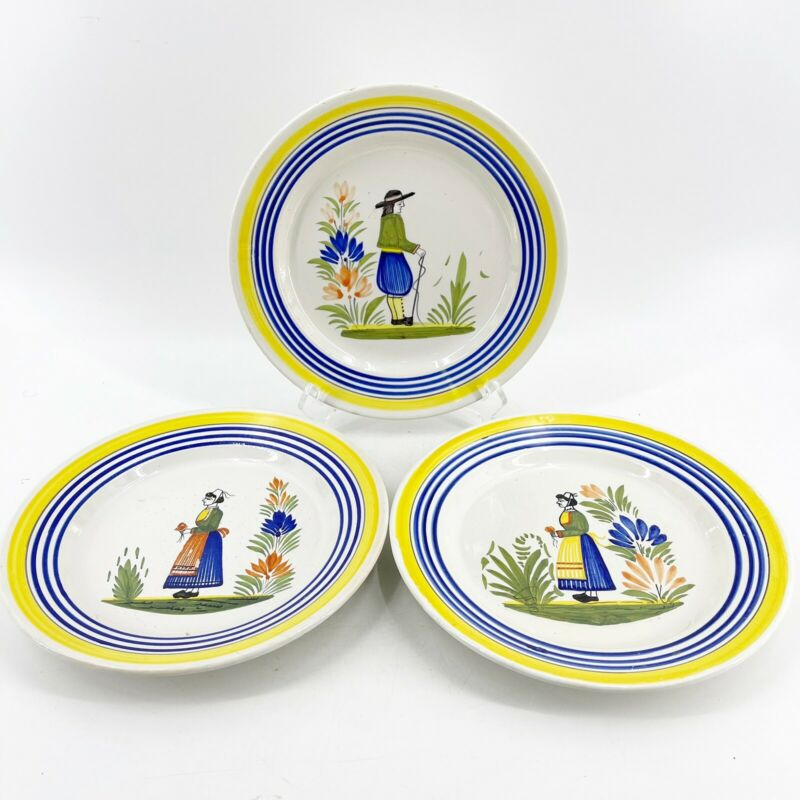 Vintage Henriot Quimper Hand Painted Signed 3 Dinner Plates Man Woman 9 3/4""