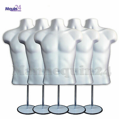 5 Pack Male Mannequin Torso Body Form White 5 Stands 5 Hangers
