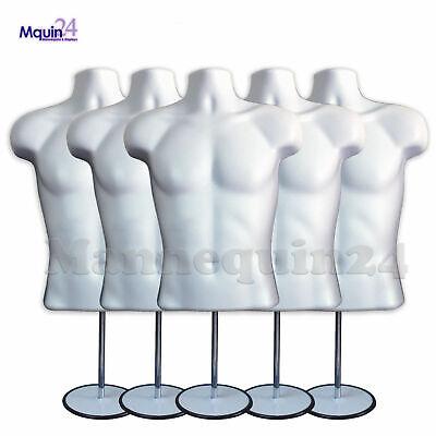 5 Mannequin Male Torsos 5 Stands 5 Hangers - White Plastic Men Dress Forms