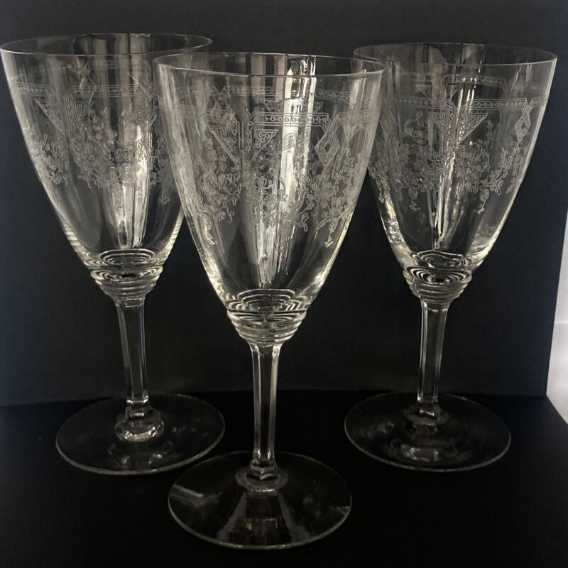Fostoria Etched Crystal Clear 7inch Water Goblets set of 3