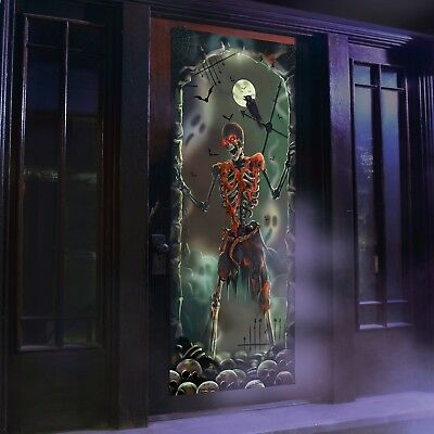 Halloween Lights and Sounds Door Panel Skeleton Creepy Funny Novelty  - Funny And Creepy
