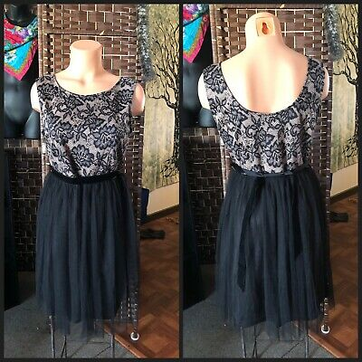 Black Lace Tutu Skirt (New AMERICAN RAG CIE party dress black lace over nude L tutu skirt tank top)