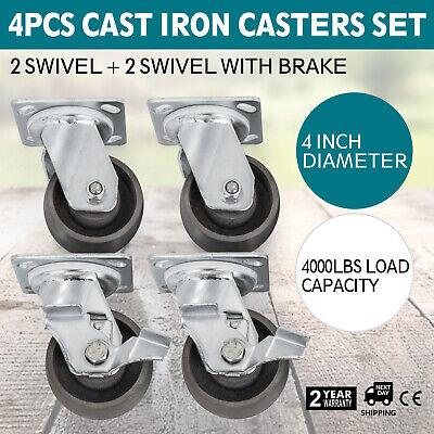 4 Steel Cast Iron Swivel Casters 4000 Lb Steel Warehouse Carts Heavy Duty