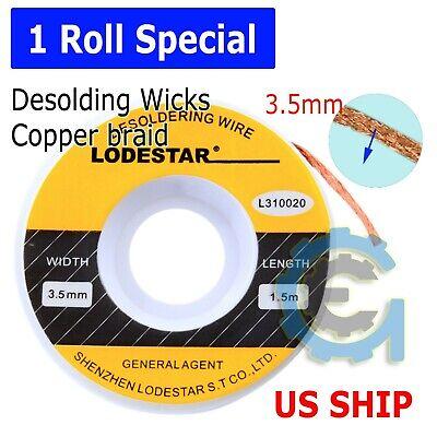 3.5 Mm Desoldering Braid Solder Remover Copper Wick Spool Wire Cable 1.5m Usa