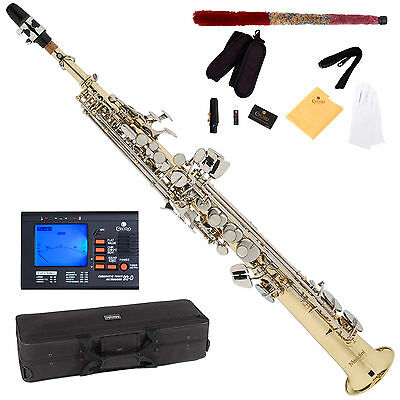 NEW Bb SOPRANO SAXOPHONE SAX w/ Gold Body & Nickel Keys on Rummage