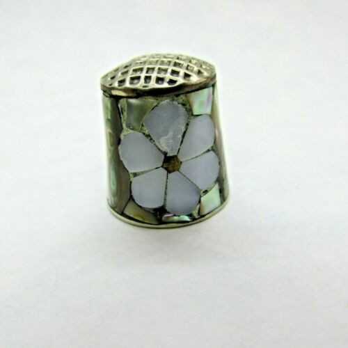 Vintage Abalone Inlaid Thimble Mother of Pearl Flower Alpaca Mexico Silver