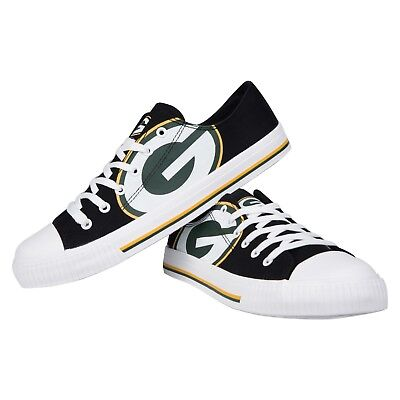 Green Bay Packers Big Logo Low Top Sneakers Team Color Shoes US Men's Sizing Green Bay Packers Mens Slipper