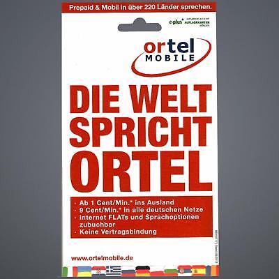 Ortel Mobile Prepaid Handy SIM Karte zum selber registrieren E-Plus BASE o2 blau