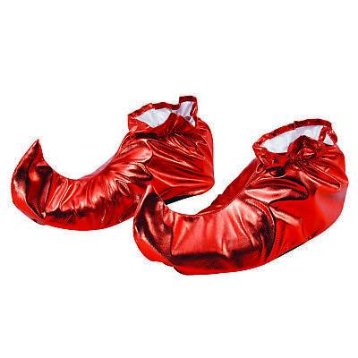 Rot Metallisch Erwachsene Hofnarr Überschuhe Kostüm Schuhe Weihnachtselfe - Elf Weihnachten Kostüm Schuhe