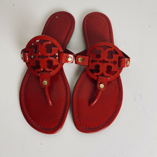 Tory Burch Miller Red Patent Leather Thong Sandals Flip Flops Size 7 Womens - $140.00
