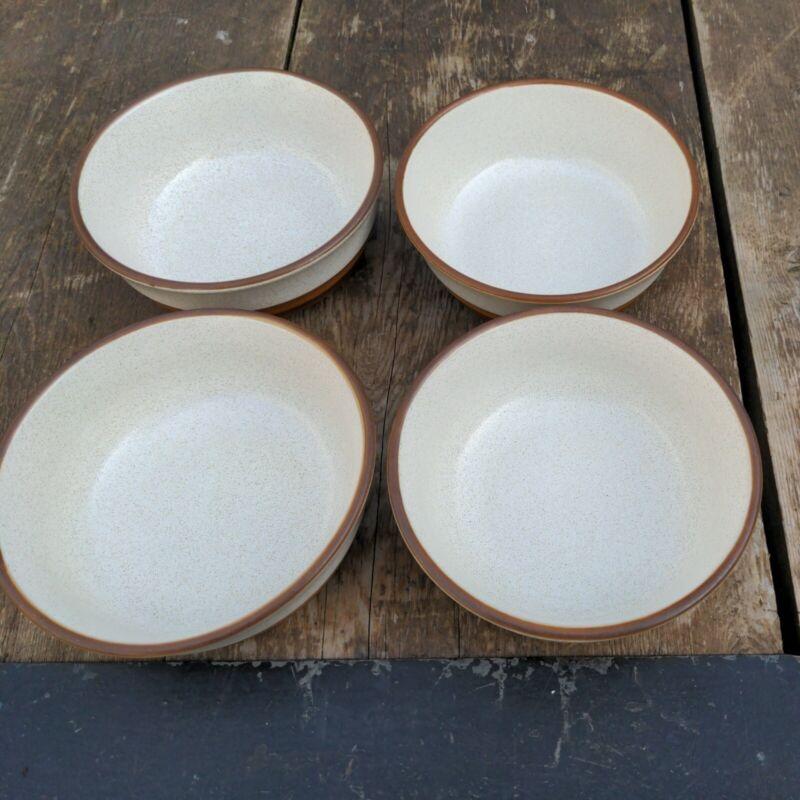 """4 Vintage Denby Stoneware Cereal Bowl Set 6"""" England"""