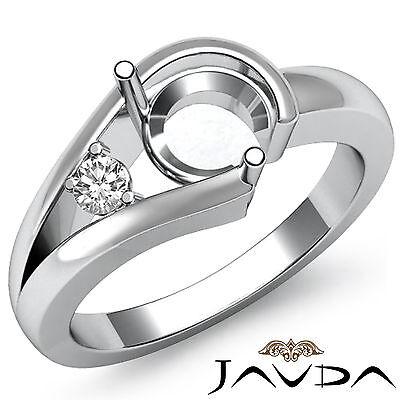 - Prong Set Natural Diamond Engagement Ring Platinum 950 Round Semi Mount 0.05Ct