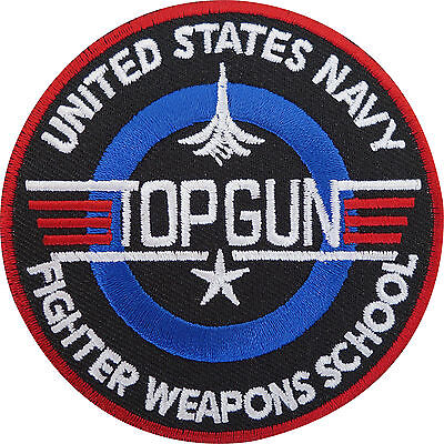 Top Gun Patch Embroidered Iron / Sew On Badge Navy Air Force Fancy Dress Costume (Top Gun Kostüm Patches)