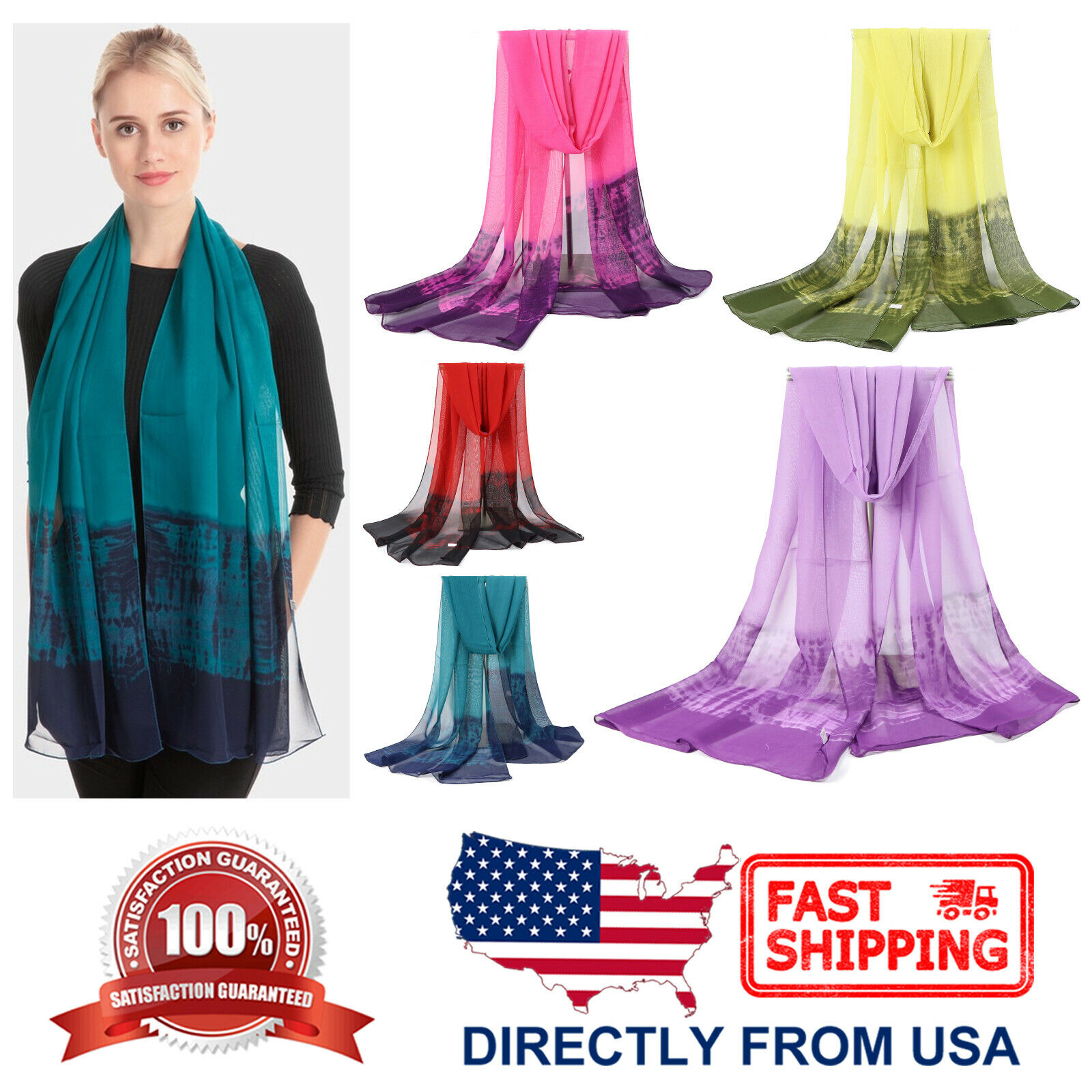 Women's Color Gradient Natural Dye Chiffon Lightweight Beach Wrap Fashion Scarf Clothing, Shoes & Accessories