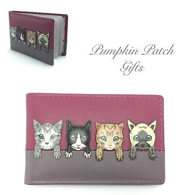 PINK Leather ID Card Holder Kittens Cats On The Wall MALA Best Friends 630_65