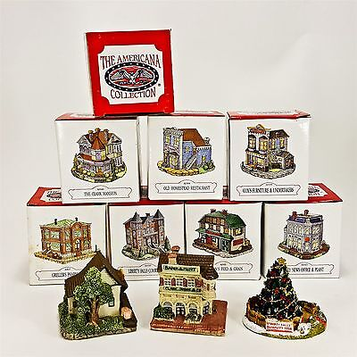 Americana Collection Liberty Falls 11pc LOT Village Office Mansion Restaurant