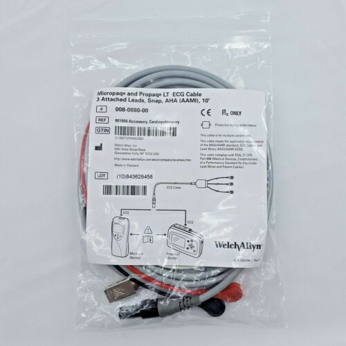Welch Allyn 008-0880-00 Micropaq Propaq LT ECG Cable 3 Lead 10