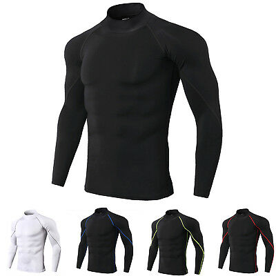 Compression Mock Neck - Men's Compression Shirt Mock Neck Long Sleeve Moisture Wicking Base Layer Plain
