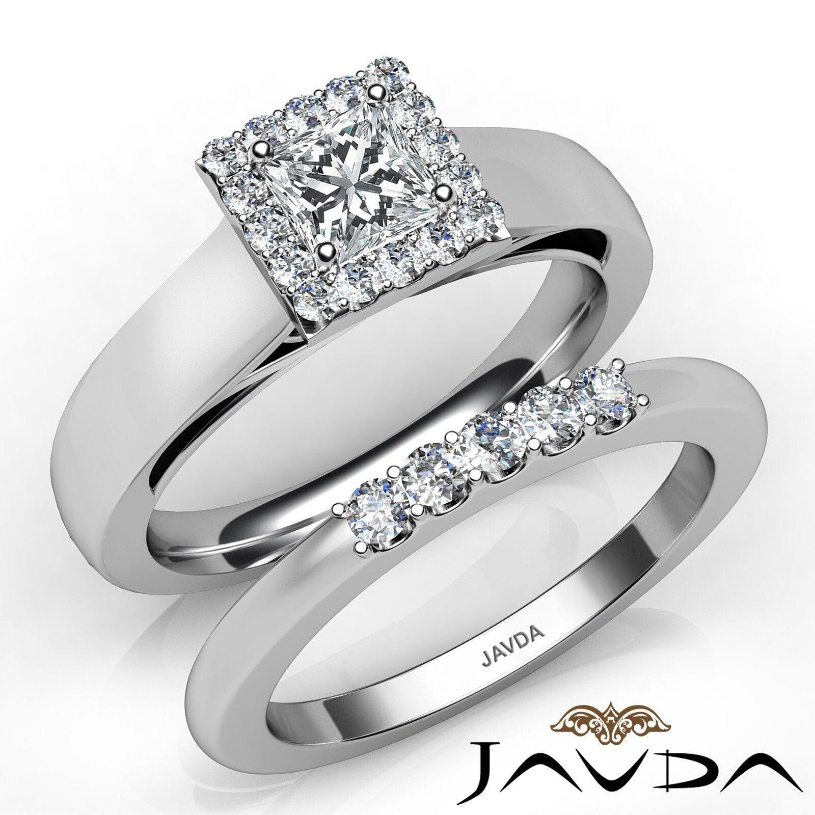 1.03ctw Halo Prong Bridal Set Princess Diamond Engagement Ring GIA E-SI1 Gold