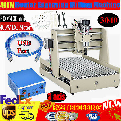 3 Axis Usb Cnc Router 3040 Engraver 400w Metal Wood Cutting Mill Drill Machine
