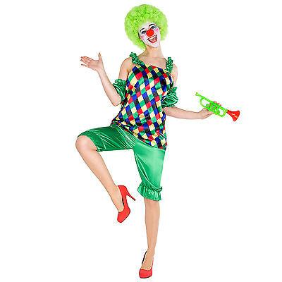 Frauenkostüm Clown Clownfrau Clownkostüm Harlekin Fasching Karneval Kostüm Nase