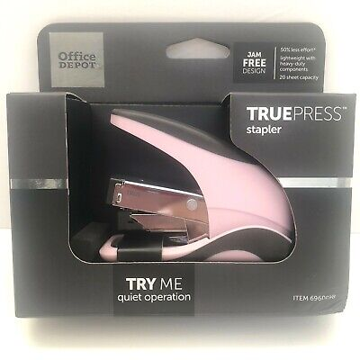 Office Depot Truepress Pink Stapler Quiet Jam Free Lightweight Less Effort