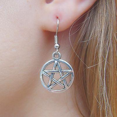 Silvered Star Protective Pentagram Earrings on .925 Sterling Silver French Hooks