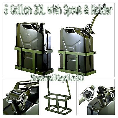 Jerry Can 5 Gallon 20l Gas Fuel Army Nato Military Metal Steel Tank Holder Set