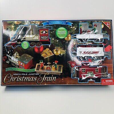 North Pole Junction Christmas Theme Train Set 20' Track Light Sound 34 pc. Decor