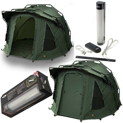 2 Man Fortress 3 Rib Bivvy NGT Carp Fishing Waterproof + Large Bivvy Light