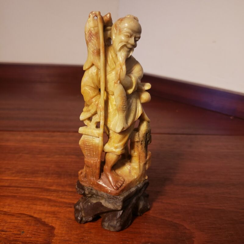 Great vintage chinese carved stone sage figurine, detailed