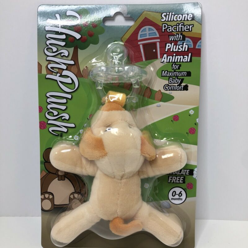 Hush Plush Silicone Pacifier with Plush Animal, Dog.