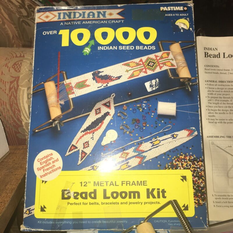 PASTIME Vintage American Indian Bead Loom original box w/ Beads Instructions